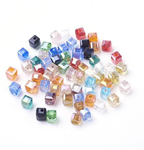wholesale 100pcs 4x4mm Crystal glass Square Beads Beads Crystal Beads