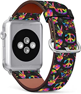 (Neon Hippie Peace Sign and Marijuana Leaf) Patterned Leather Wristband Strap Compatible with Apple Watch Series 5/4/3/2/1 gen,Replacement for iWatch 42mm / 44mm Bands