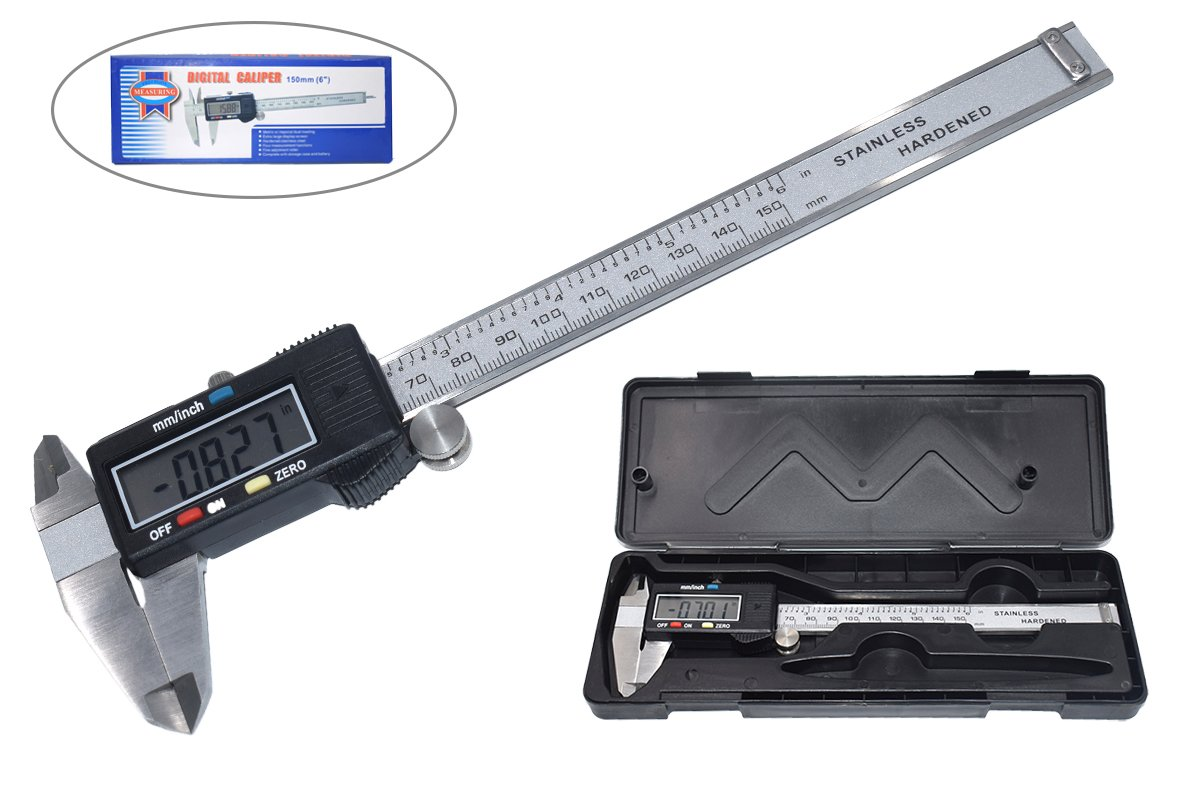 Onebycitess Metric Digital Caliper with LCD Screen 0-6 inch/150mm Stainless Steel Electronic Depth Gauge Measuring Tools
