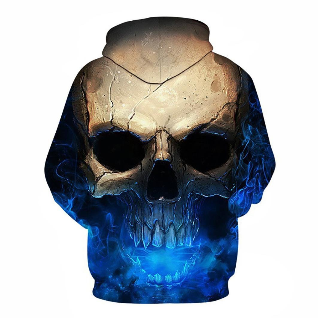 Snowfoller Unisex Autumn 3D Printed Skull Pullover Lovers Long Sleeve Hooded Sweatshirt Tops