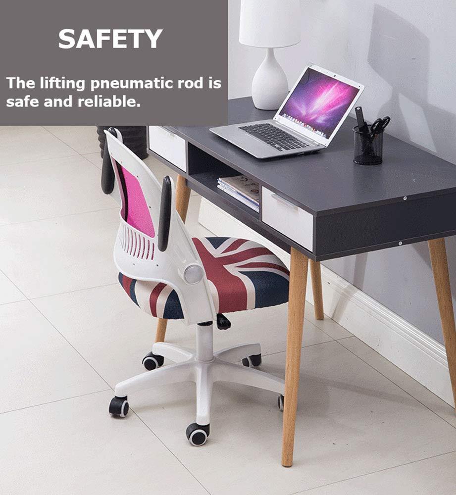 QWET Kontorsstol, verkställande dator kontorsstol, ergonomisk justerbar och vridbar tyg nätstol med bekvämt ryggstöd Röd Grått