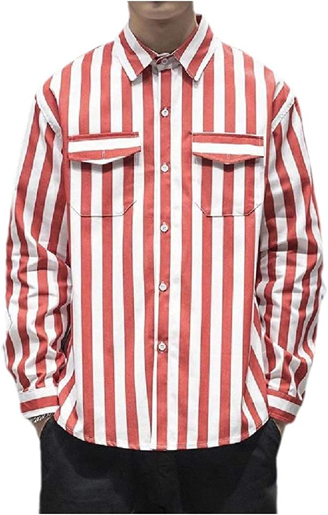 Fiere Mens Plus Size Peaked Lapel Casual Stripes Printed Long Sleeve Denim Shirt