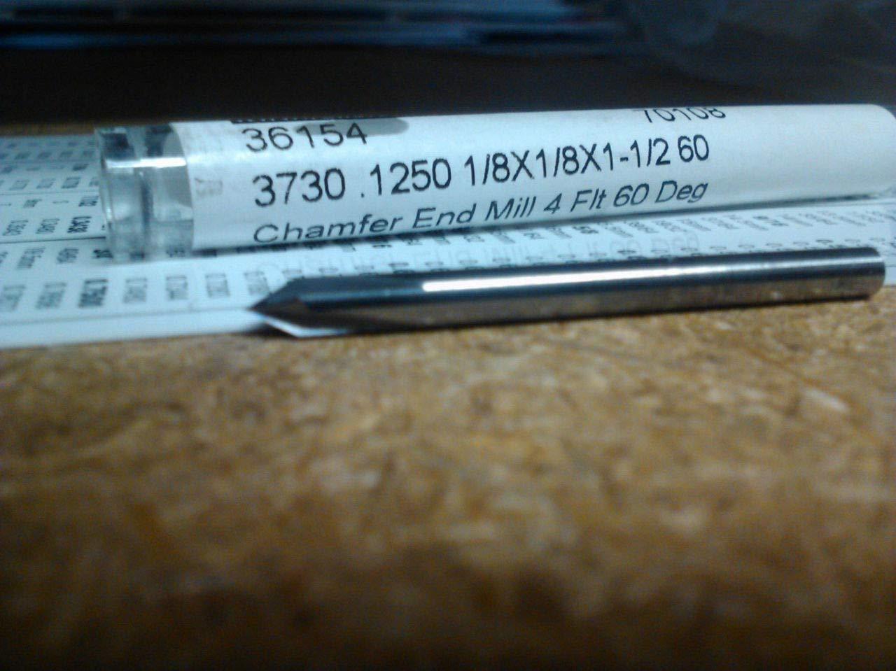 .125 1//8 4 Flute 60 Degree Carbide Chamfer Mill