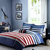 Teen Boys Bedding Comforter Rugby Stripe Nautical TWIN TWIN XL Comforter + Matching Sham + Decorative Throw Pillow + Home Style Sleep Mask Red Blue Gray White Set Comforters Sets For Kids Boy Teens