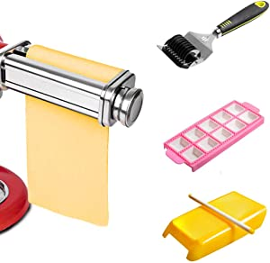 Pasta Roller Sheet Attachment for KitchenAid Stand Mixer,Pasta Maker Accessory,Pasta Roller Kit including Kitchenaid Pasta Attachment,Ravioli Maker,Noodle Lattice Roller,Spaghetti Macaroni Pasta Set