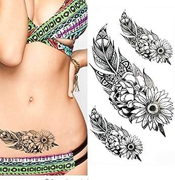 ND tatuaje temporal mujer Tattoo Ephemere adhesivo 3 x flor negro ...