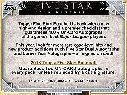 Amazoncom 2018 Topps Five Star Baseball Hobby Box 1 Pack
