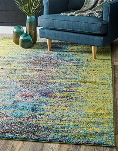 Unique Loom Vita Collection Traditional Over-Dyed Vintage Green Area Rug (8' x 10') ()