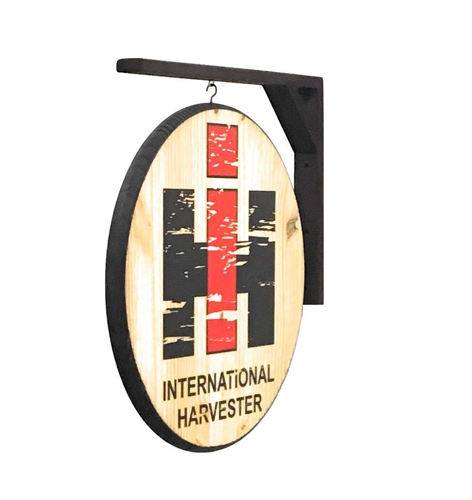 International Harvester Sign, 2 Sided 18'' Diameter Weathered Wood Design - Includes Wall Hanging Bracket