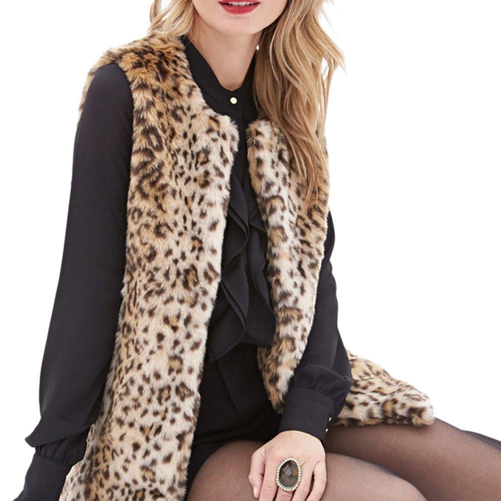 Womens Faux-Fur Vest Leopard Vintage Sungpunet Coat