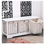 White 3 Drawer Shabby ChicTable Wicker Wood Cupboard Cabinet Basket Storage for storing any other
