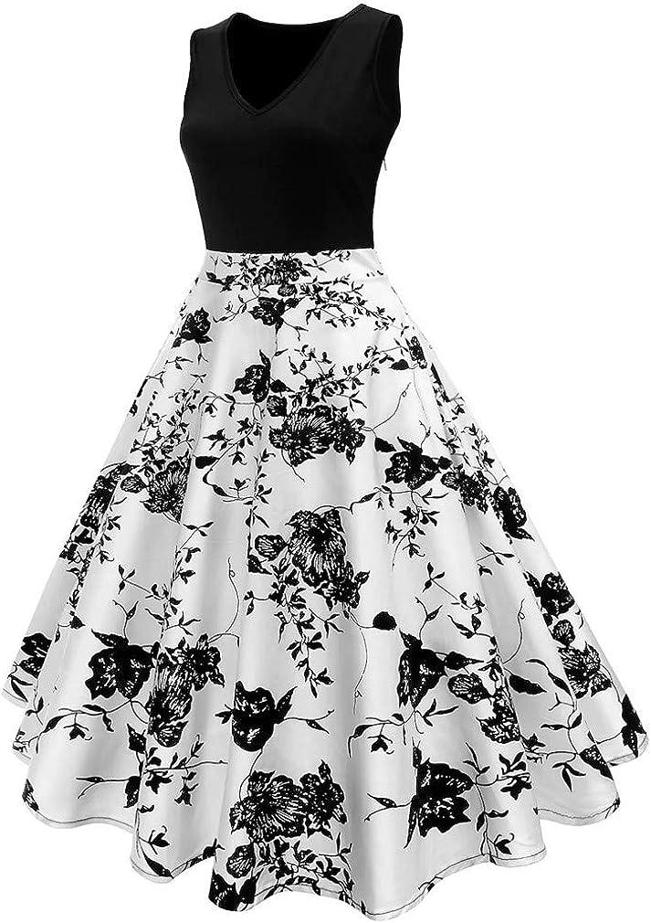 Vanbuy Womens V Neck Sleeveless 50s Pin Up Vintage Rockabilly Swing Party Dress