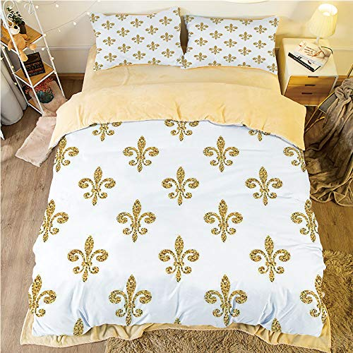 Flannel 4 pieces on the bed Duvet Cover Set 3D printed for bed width 4ft Pattern Customized bedding for boys and young children,Fleur De Lis Decor,Vintage Stylized European Lily Noble Aristocratic Dig