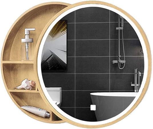 Mueble de baño de Espejo de Madera Maciza con luz Mueble de Almacenamiento LED montado en la Pared Inteligente Anti-vaho, diseño de Puerta corredera (Color : Wood, Size : 70cm): Amazon.es: Hogar