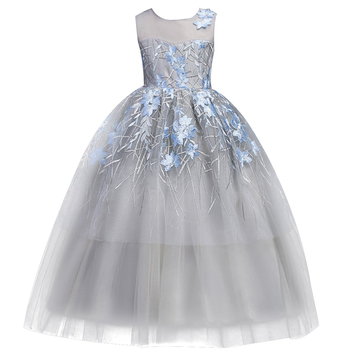 b5a94346288 Amazon.com  Kids Flower Pageant Tutu Tulle Wedding Princess Long Gray Dress  for Girl Ruffles Vintage Embroidered Gown  Clothing
