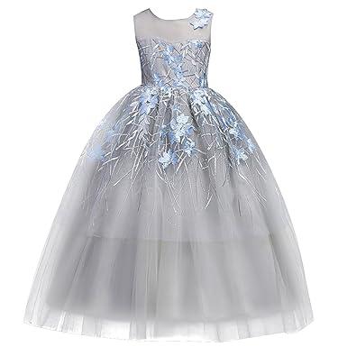 Kids Floral Embroidered Big Girls Flower Dress Princess Wedding Party Bridesmaid Grey Blue 5-6