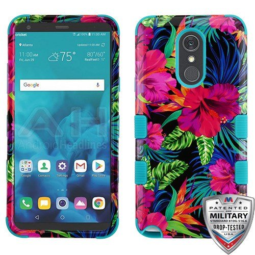 online store d2b53 5bcf0 for LG STYLO 4 Case Military Grade Certified Shockproof Hybrid Rugged  Accessory Armor Phone Cover Compatible with LG Q Stylus (Pink Hibiscus)