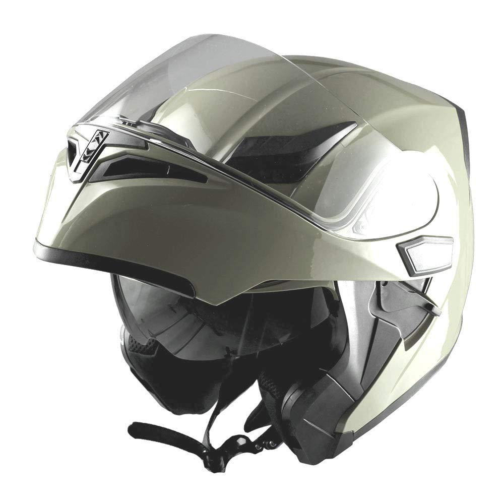 1Storm Motorcycle Modular Full Face Helmet Flip up Dual Visor Sun Shield: HB89 Glossy Tan by 1Storm