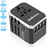 [Upgraded] Universal Travel Power Adapter,Delicacy Worldwide All in One Converter with Fast Charging 4 USB and Type C Ports,International Wall Charger AC Plug for US EU UK AUS Cell Phone Tablet Laptop