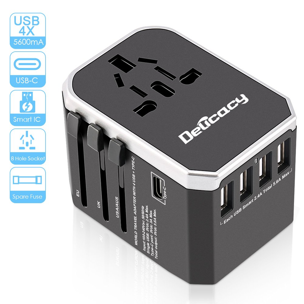 [Upgraded] Universal Travel Power Adapter,Delicacy Worldwide All in One Adapter with Fast Charging 4 USB and Type C Ports,International Wall Charger AC Plug for US EU UK AUS Cell Phone Tablet Laptop by Delicacy (Image #1)