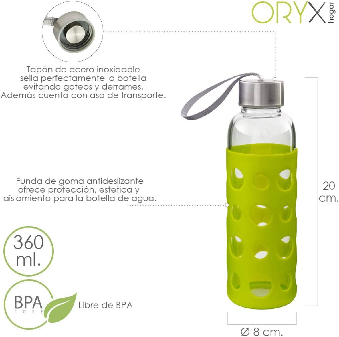 ORYX 5075050 Botella Agua de Cristal Con Funda Goma y Tapon Antigotas 360 ml, Plateado