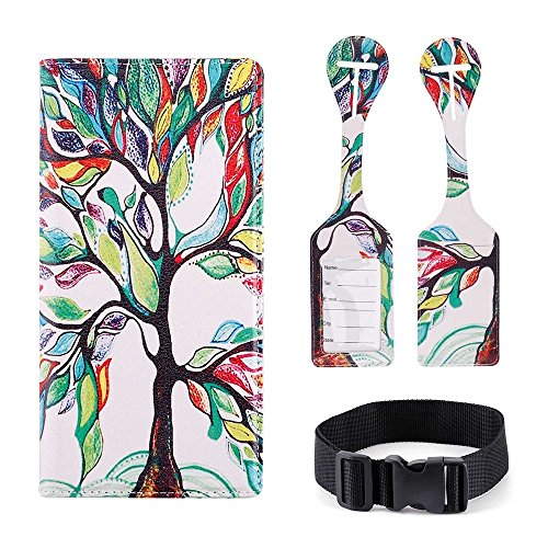 Passport Wallet Holder Cover Travel Wallet with 2 Matching Luggage Tags and Luggage Strap (LOVE TREE)