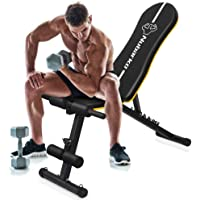 Utility Bench, Adjustable Weight Bench with Wider Backrest/Seat for Full Body Workout Home Gym Strength Training Press bench with Easy Folding [2020 New Version]