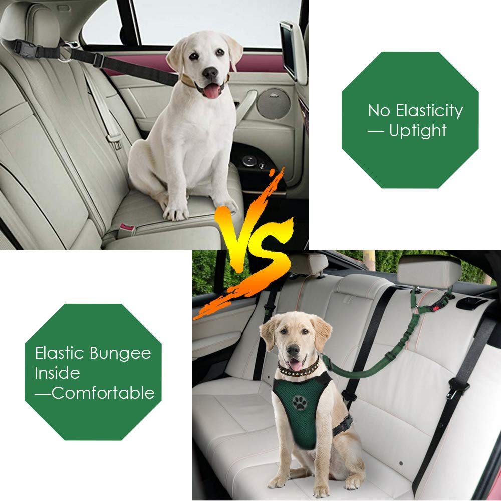 2 Pack Pet Car Seatbelt Headrest Restraint Adjustable Puppy Safety Seat Belt with Elastic Bungee and Reflective Stripe Connect with Dog Harness SlowTon Dog Seatbelt