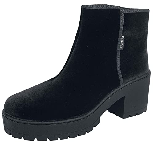 Victoria Botin Terciopelo Cremallera Botas Negro: Amazon.es: Zapatos y complementos