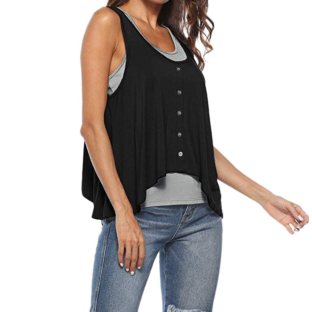 Pack of 2 Tank Loose Top Pack dumanfs Womens Sleeveless Vest Casual Plain Button
