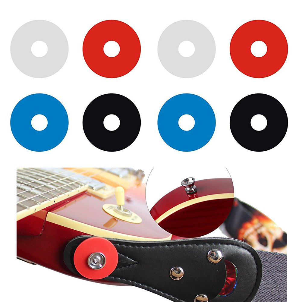 31P15TA9LPJYA03FT9QY1 ROSENICE 8pcs Guitar Strap Locks Anti Slip Strap Blocks with Lock Button 2xWhite + 2xBlue + 2xRed + 2xBlack