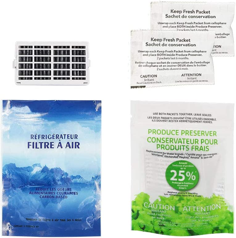 AMI PARTS W10311524 Air Filter &W10346771A Produce Preserver Replacement Compatible with Whirlpool Maytag KitchenAid Refrigerator(pack of 1 each)