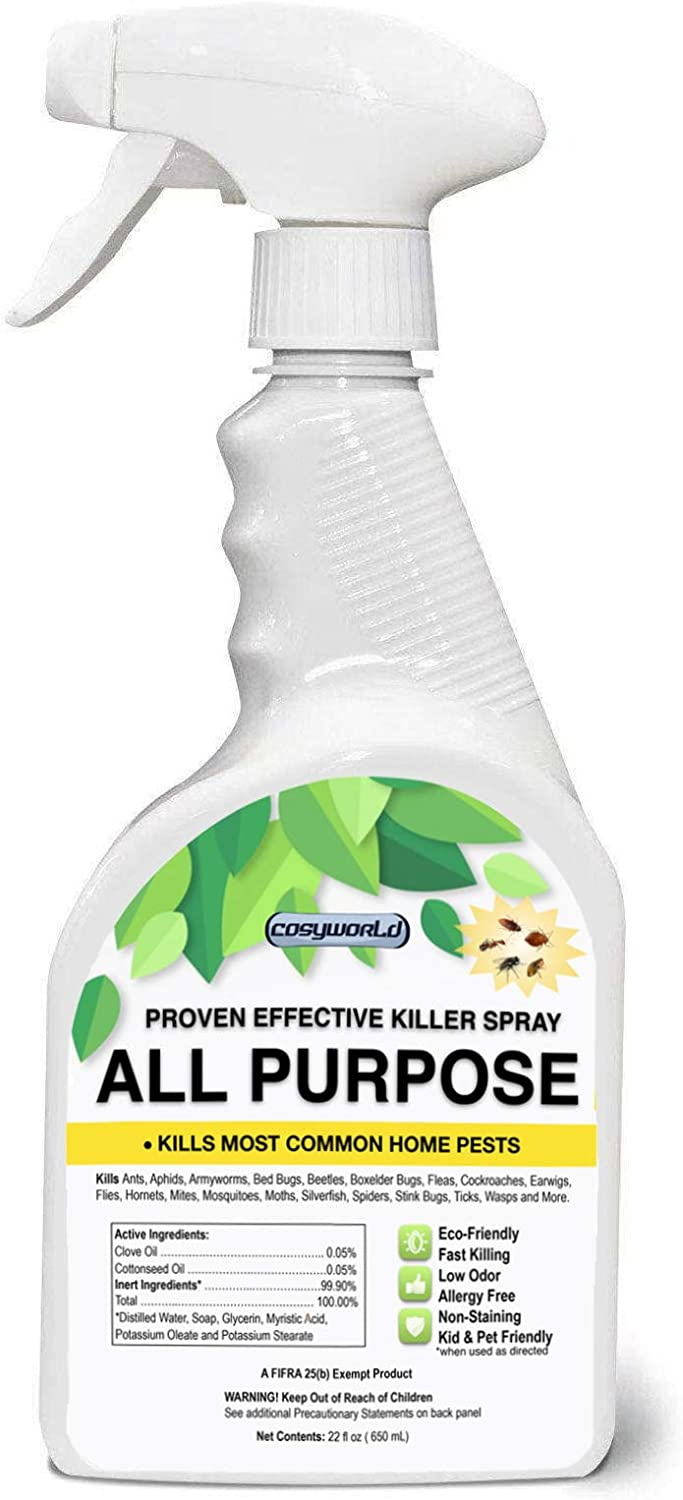 COSYWORLD Organic All Purpose Home Insect Control - Liquid Spray with Odorless - Fast and Sure Kill with Extended Residual Protection, Natural & Non-Toxic, Child & Pet Friendly