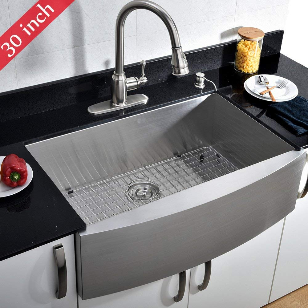 VCCUCINE Commercial Brushed 30 inch Handmade Apron Single Bowl 304 Stainless Steel Farmhouse Kitchen Sink, Included Dish and Drain Assembly