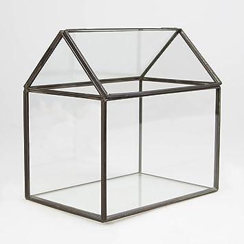 Zinc glass house shaped terrarium candle holder lantern glasshouse planter by rjb stone