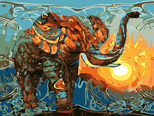 TianMai New Paint by Number Kits - Sunset Colorful Elephant 16x20 inch Linen Canvas Paintworks - Digital Oil Painting Canvas Kits for Adults Children Kids Decorations Christmas Gifts (With Frame)