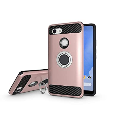Newseego Compatible with Google Pixel 3 XL Case, Armor Dual Layer 2 in 1 and Finger Ring Holder Kickstand Fit Magnetic Car Mount for Google Pixel 3 XL-Rose Gold: Electronics
