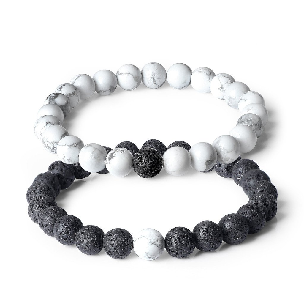 AmorWing Long Distance Relationship Genuine Lava Stone Beads Mala Couple Bracelets Valentine's Day Gift N398-2