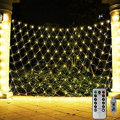 ASmile 204 LED Net Light Outdoor Mesh Lights, Backdrop Window Lights Remote Control Fairy Lights for Outdoor, Garden, Wedding Party, Christmas Decor-9.8ft x 6.6ft(Warm White) : Garden & Outdoor