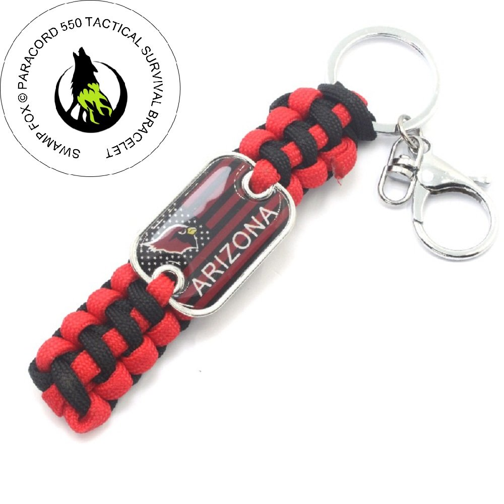 Arizona Cardnals American Team Flag Survival Paracord Keychain Made by Swamp Fox