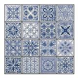 backsplash tile designs  - Premium Anti Mold Peel and Stick Wall Tile Backsplash in Moroccan & Portuguese Design (Portuguese Blue, 10)