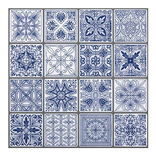 - Premium Anti Mold Peel and Stick Wall Tile Backsplash in Moroccan & Portuguese Design (Portuguese Blue, 10)