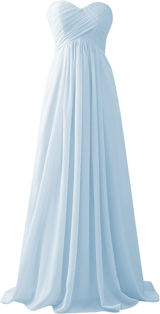 Bridesmaid Dress Sweetheart Chiffon Long Pleats Strapless Evening Prom Gowns