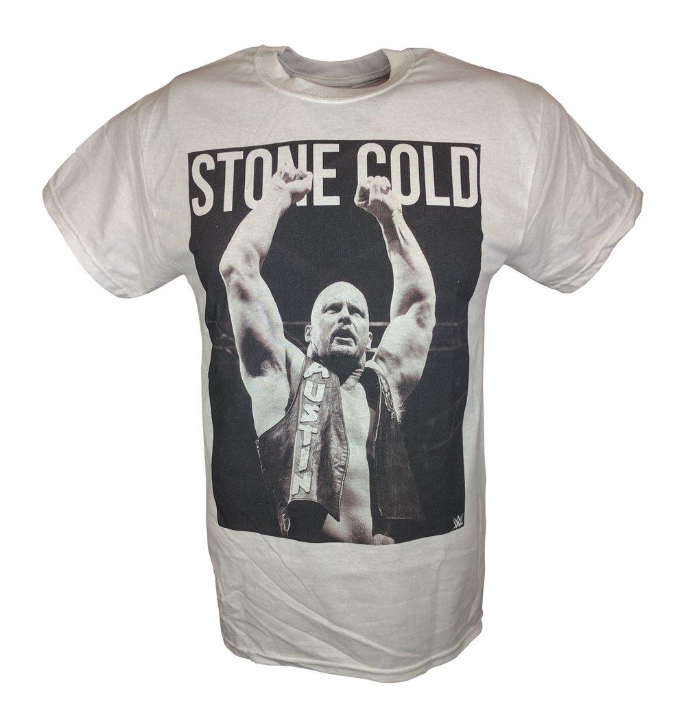 Stone Cold Steve Austin Arms Raised WWE Mens White T-shirt-L