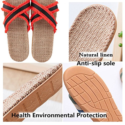Linen A18 Home Toe Slides Indoor Women Mtzyoa Slippers Breathable Flax Summer Open w7xXC1q