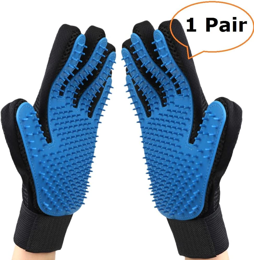 Lovpet Upgraded Pet Grooming Gloves, Gentle Pet Hair Remover Glove Deshedding Brush, Washing and Massage Mitt with Enhanced Five Finger Design - Perfect for Dogs and Cats with Long/Short/Curly Hair