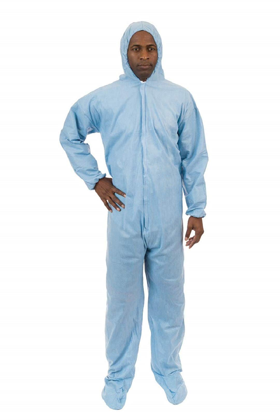 PyroGuard FR Disposable Flame Resistant Outerlayer Coveralls (Blue) (Case of 25) (5XL, Elastic Wrist, Hood & Boots)