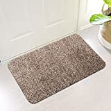 "Indoor Super Absorbs Mud Doormat Latex Backing Non Slip Door Mat for Small Front Door Inside Floor Dirt Trapper Mats Cotton Entrance Rug 18""x 28"" Shoes Scraper Machine Washable Carpet Brownish Tan"