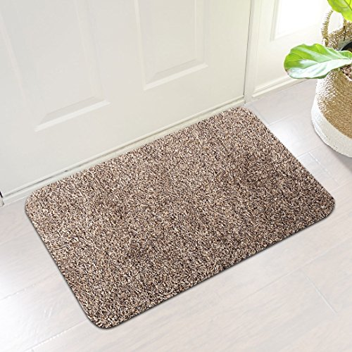 Indoor Super Absorbs Mud Doormat Latex Backing Non Slip Door Mat for Small Front Door Inside Floor Dirt Trapper Mats Cotton Entrance Rug 18″x 28″ Shoes Scraper Machine Washable Carpet Brownish Tan