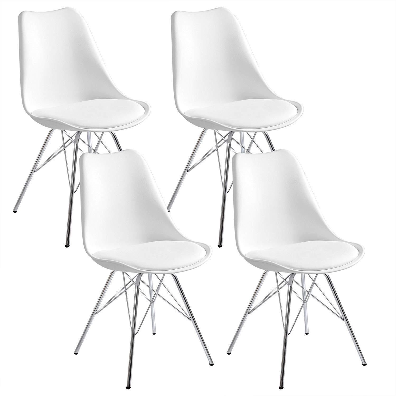 Katherinabade 4er Set Esszimmerstuhl Wohnzimmerstuhl Bürostuhl Retro Design Kunstleder Metallbeine (Weiß)